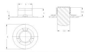 schema Arrêt d'axe métallique décoratif