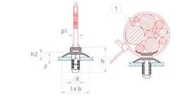 schéma Adaptateur à pressionner dans un trou pour lanière Raymond
