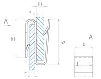 schéma Agrafe bords de panneaux Forme S double griffes