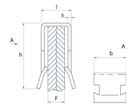 schéma agrafe bords de panneaux Forme U, double griffes