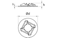 schéma Arrêts d'axe A Raymond / Rondelles à pousser sur goujons filetés