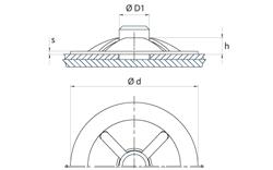 schéma Rondelle arrêt d'axe / Rondelles à pousser sur tiges lisses pour charges Légères