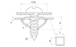 schéma Ecrou métal pour vis tôle