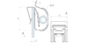 schéma Support tube métal bords de panneaux à diamètres variables