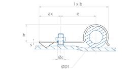 schéma Support tube métal Forme P à riveter ou à visser