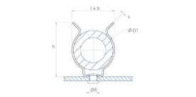 schéma Support tube métal Lyre à riveter ou à visser