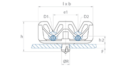 schéma Support tube à pressionner dans un trou multiple Raymond