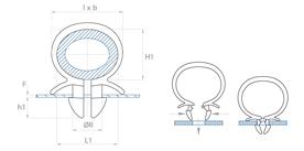 schéma Support tube à clipper dans un trou Omega Raymond